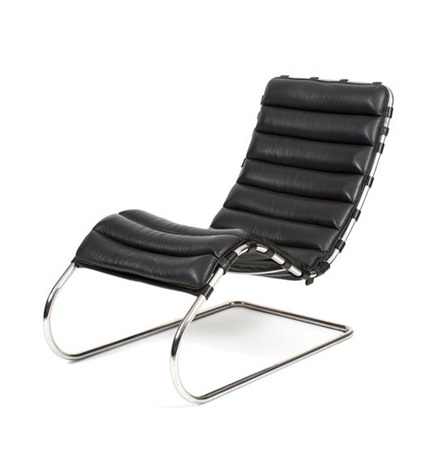 A Leather Upholstered Chaise Lounge Chair Height 37 Inches By Ludwig Mies Van Der Rohe