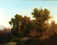paesaggio boschivo con montagna sullo sfondo by julius lange