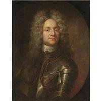 portrait of a gentleman, half-length, wearing armour by joseph vivien