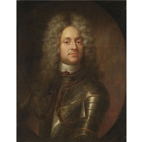 portrait of a gentleman half length wearing armour by joseph vivien