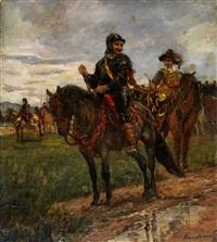 geharnischte reiter in landschaft in kostümen des 17. jahrhunderts by louis (ludwig) braun