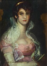 portrait de dame à l'éventail by josé cruz herrera