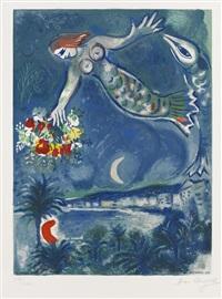 die sirene und der fisch, pl. 3 (from nizza und die côte d´azur) (by charles sorlier) by marc chagall