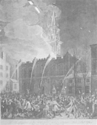 the conflagration of the masonic hall chestnut street, philadelphia by john hill
