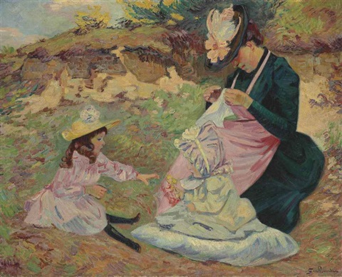 madame guillaumin et ses filles by armand guillaumin