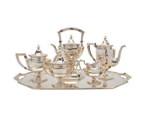 Five Piece Silver Coffee And Tea Service Philadelphia Monogrammed By Bailey Banks And Biddle On Artnet