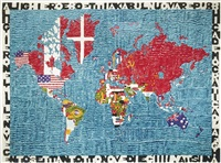 mappa del mondo, after alighiero boetti (from pictures of pigment) by vik muniz
