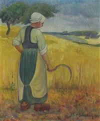 jeune bretonne à la faucille by paul sérusier