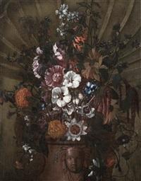 blumenstilleben in einer vase by karel van vogelaer