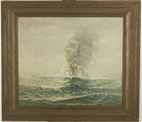 a ship emerging from the fog by theodore victor carl valenkamph