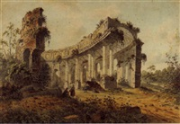 a view of a ruined classical colonnade in a landscape, with two peasants by jacobus (verstegen, jacob) versteegh