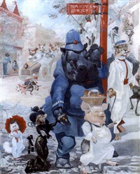 on turkey street (+ the excited passengers, watercolor; 2 works) by harry rountree