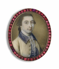 a young gentleman, in cream coat with blue collar, blue waistcoat and frilled cravat by james scouler
