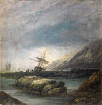 navíos en paisaje rocoso by genaro perez villaamil