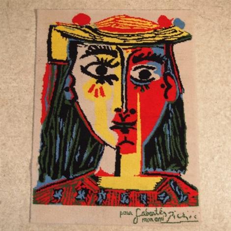 Portrait de femme au chapeau à pompons et au corsage imprimé by ...