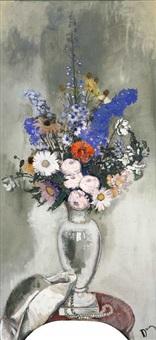 bouquet de fleurs, chapeau et perles 2 works by etienne drian