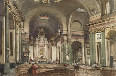 interior of the church of st aloysius glasgow by robert eadie