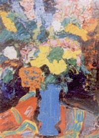 bouquet de fleurs au vase bleu by pascal ambrogiani