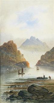 italienische seelandschaft mit segelbooten by salomon corrodi