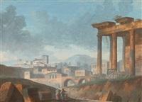 paysage classique avec une famille au pied d'un temple by jacques michel denis lafontaine