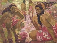 tahitiennes au bord de la rivière (tahitian women at the riverfront) by adrien jean le mayeur de merprés