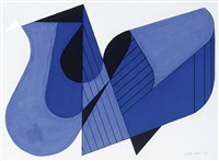 abstract compostion in black and blue by jan van der zee