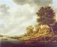 flußlandschaft mit einem bauernhof by jacob van mosscher