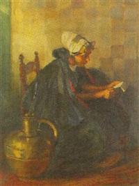 interieur mit lesendem holländischen mädchen by rudolf possin