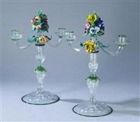 rare paire de candélabres à deux bras de lumière by ferro murano
