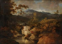 an upland landscape, fisherman by a rocky stream in the foreground, buildings in the middle distance, hills beyond by george arnald