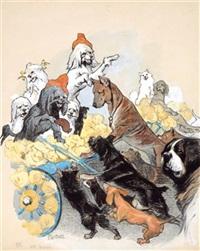 hundeleben: blinde kuh, ausgerutscht, francaise, die wurst (set of 4) by paul leuteritz