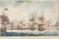 view of the british fleet at noon on 11 october; (2 works) by robert dodd