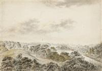 utsikt över brunnsviken i hagaparken i höjd med gustaf iii:s paviljong med ekotemplet och amor och psykestemplet by carl peter hillestrom