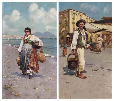 a neapolitan before a street market selling ewers on the shore of the bay of naples before vesuvius pair by alfredo campajola