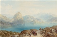 figures beside an italian lake by charles vacher