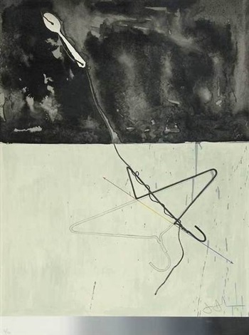 coat hanger and spoon from fragment according to what by jasper johns
