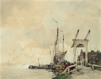 dutch barges on the river by hobbe smith