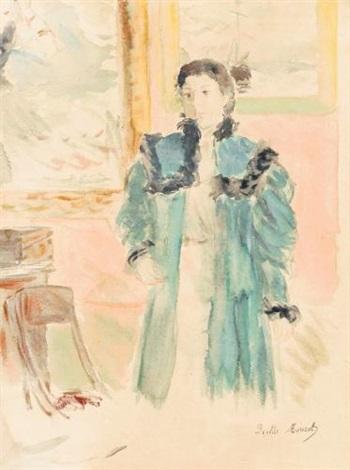jeune fille au manteau vert marthe by berthe morisot