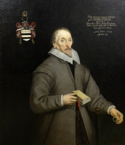 portrait of richard luther wearing a grey top coat and linen collar holding spectacles and book by gilbert jackson