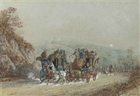 the portsmouth and guildford mail coaches passing on the guildford road (+ 2 others; 3 works) by charles b. newhouse