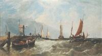 A fishing fleet off a Dutch headland