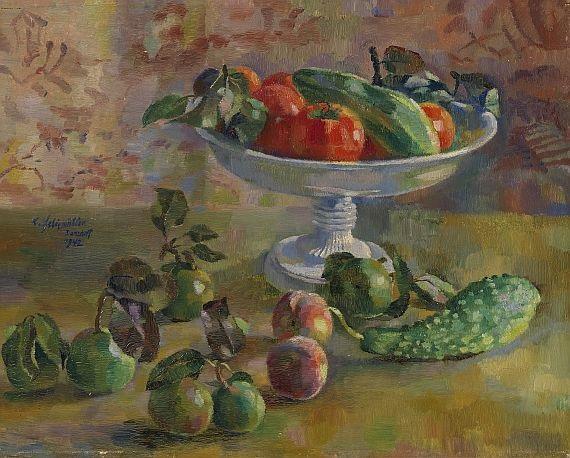 kleines herbststilleben gurken birnen pfirsiche tomaten mit meißner schale by conrad felixmüller