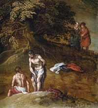 zwei badende männer beobachtet von einem paar - paesistico con due bagnanti spiati da una coppia sullo sfondo by sinibaldo scorza