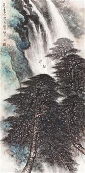 松涛飞瀑 立轴 设色纸本 ( landscape) by li xiongcai
