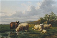 sheep grazing by louis pierre verwee