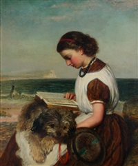 girl reading with dog on her lap, british coast by james clarke waite