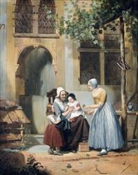familienidyll vor renaissance-haus by willem pieter hoevenaar