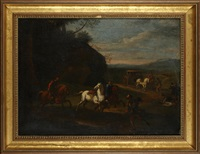 bandits attacking a coach party, on a country path by pieter van bloemen