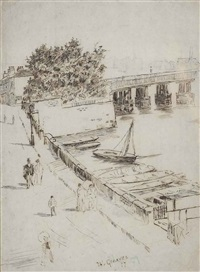 view from lindsey row towards battersea bridge by walter greaves