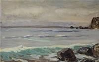 seascape with rocks by alexandr nikolaevich samokhvalov